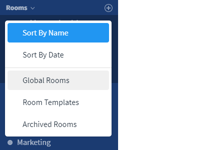 Room templates in the global search