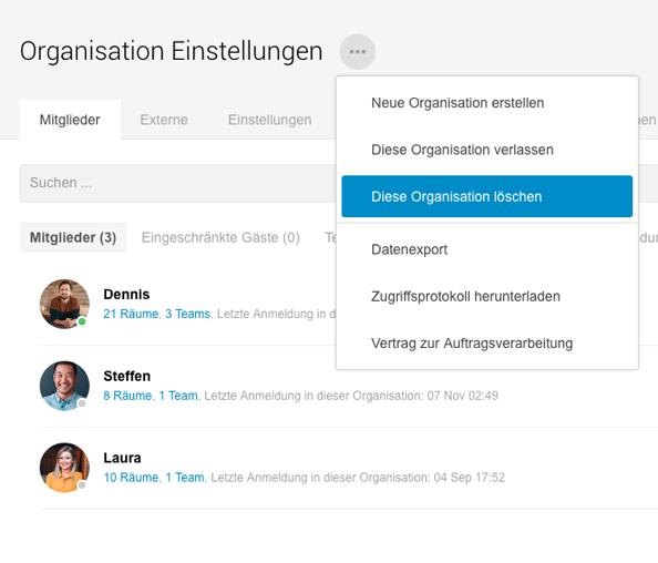microsoft teams organisation löschen