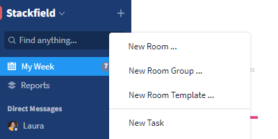 Plus icon for creating a new Room