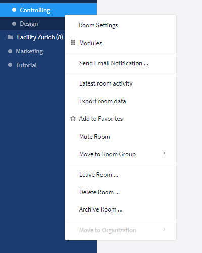 Options for rooms in the sidebar