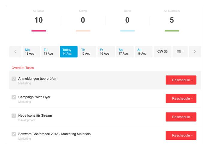 My Week User View
