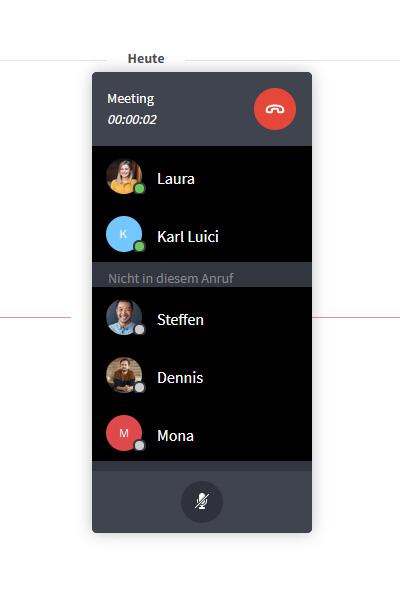 Konferenzanruf Verbindungsfenster
