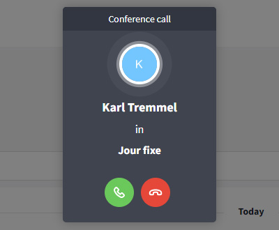 Incoming audio group call in events