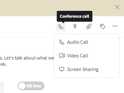 Conference call symbol in events