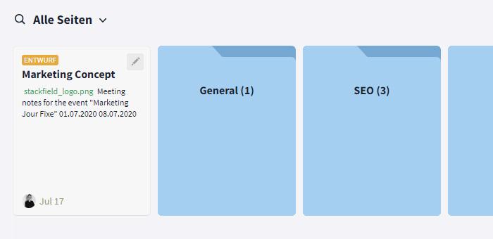 Dateien und Seiten in Ordnern