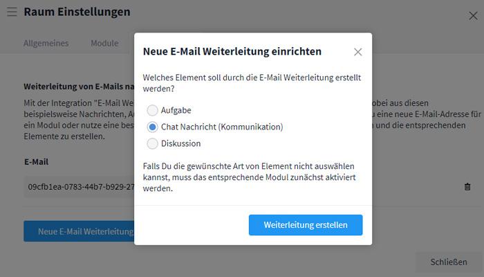 E-Mail-Integration Modulauswahl