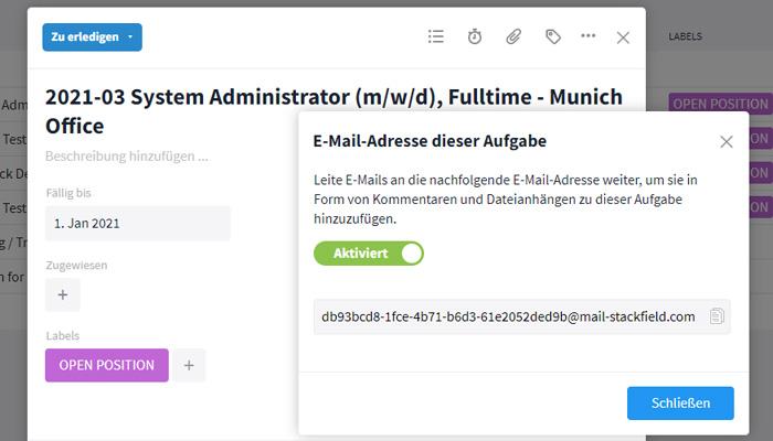 E-Mail-Integration in Aufgaben