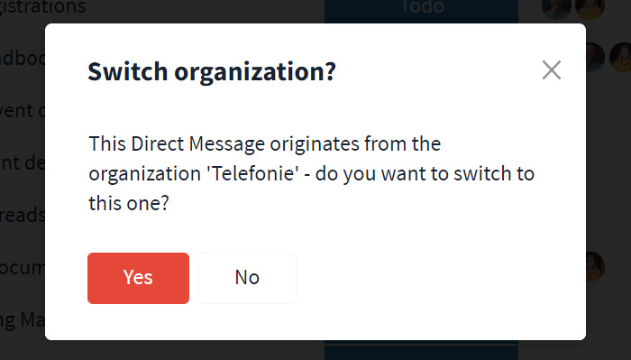 Switch to message from other organization