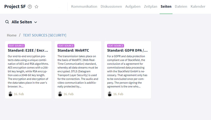 Wiki-Seiten Knowledge Base Standardtexte