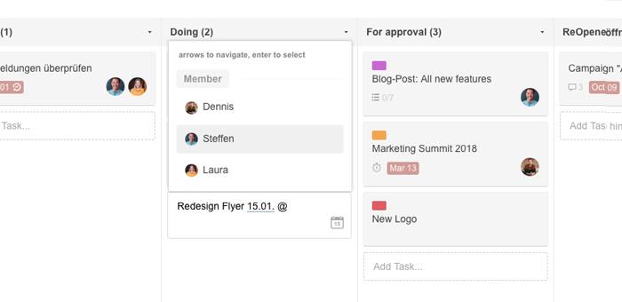 Creating tasks in the Kanban board