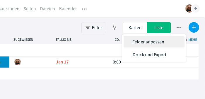 Benutzerdefinierte Frelder über 'Felder anspassen' im Aufgaben-Modul