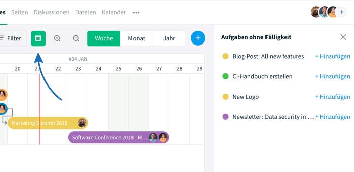 Gantt Chart mit Aufgaben-Balken und Aufgaben ohne Fälligkeitsdatum über Kalender-Icon