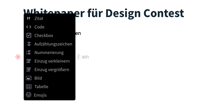 Neue Toolbar und Seite mit neuen Seiten-Inhalten
