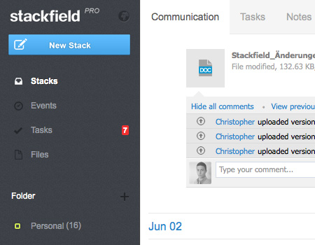 Upload different files to a Stack to share them with your colleagues.