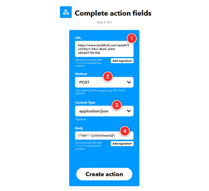 IFTTT: Action Fields Maske