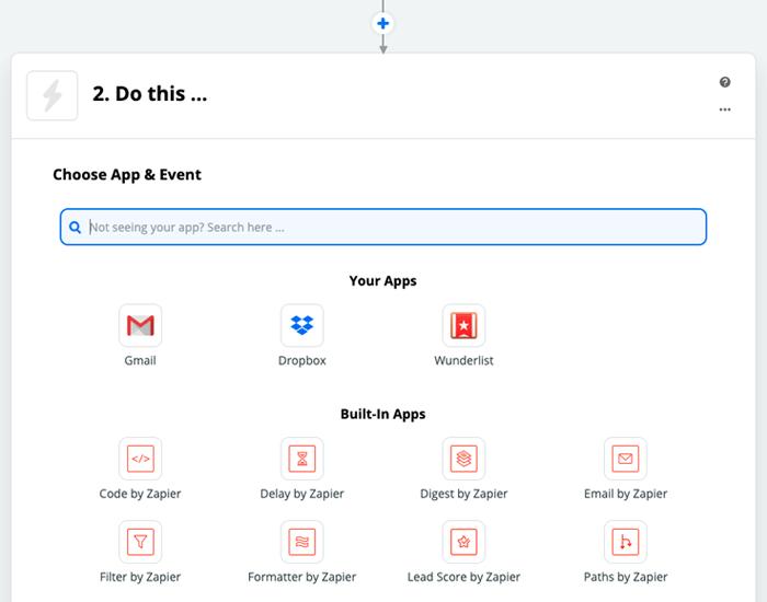 Zapier: Auswahl der Zielapplikation (WebHooks by Zapier)