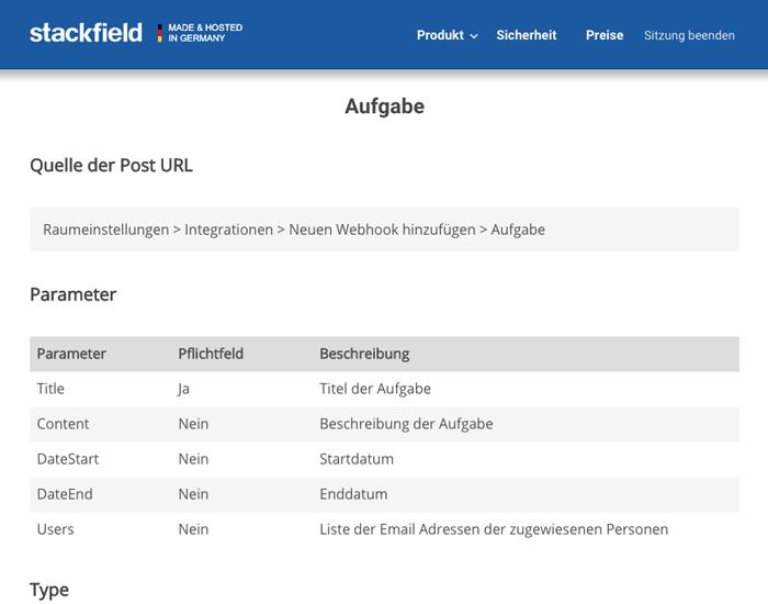 Stackfield: Webhook Parameter
