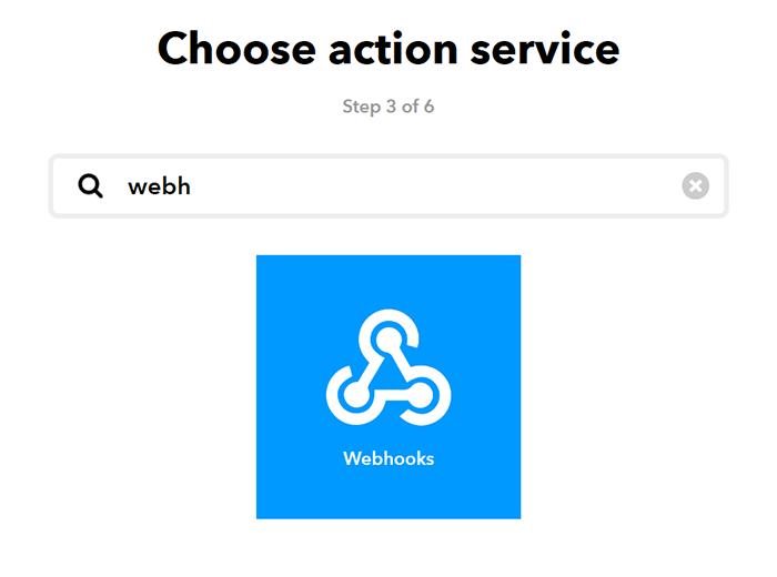 IFTTT: Auswahl Zielapplikation (WebHooks)
