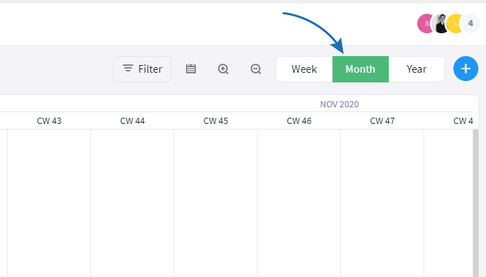 Change the period that is shown in the Gantt view
