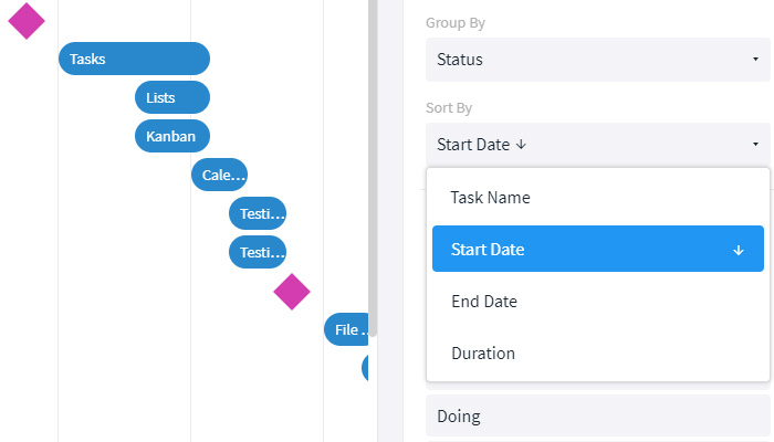 Group and sort the tasks in the Gantt view