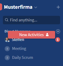Notifications about direct messages in the sidebar
