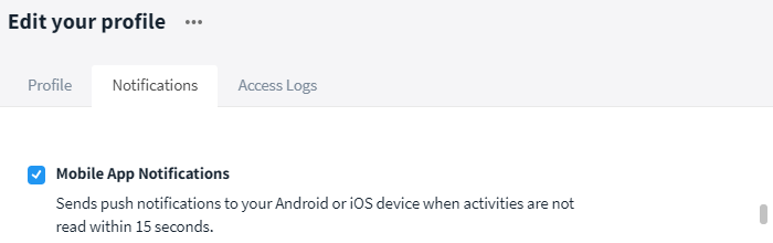 Enable / disable mobile app notifications