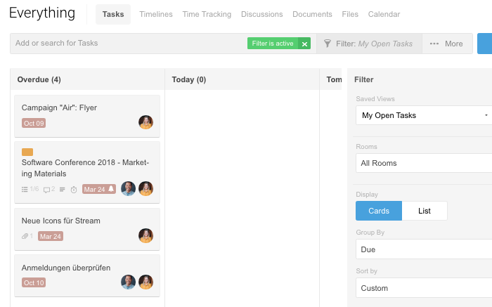 Tasks view: My Open Tasks