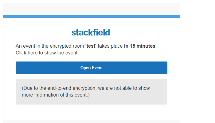 Example: Email notification coming from an encrypted room